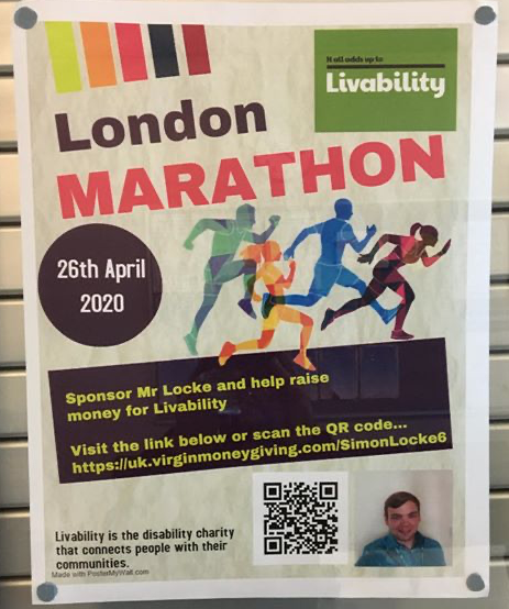 Stewards Academy teacher is taking on London Marathon 2020 for Livability