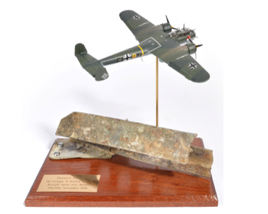 Wreckage of German bomber that crashed in Harlow to be auctioned for charity