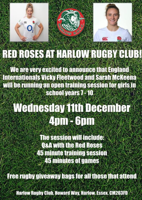 England internationals to host coaching session at Harlow Rugby Club