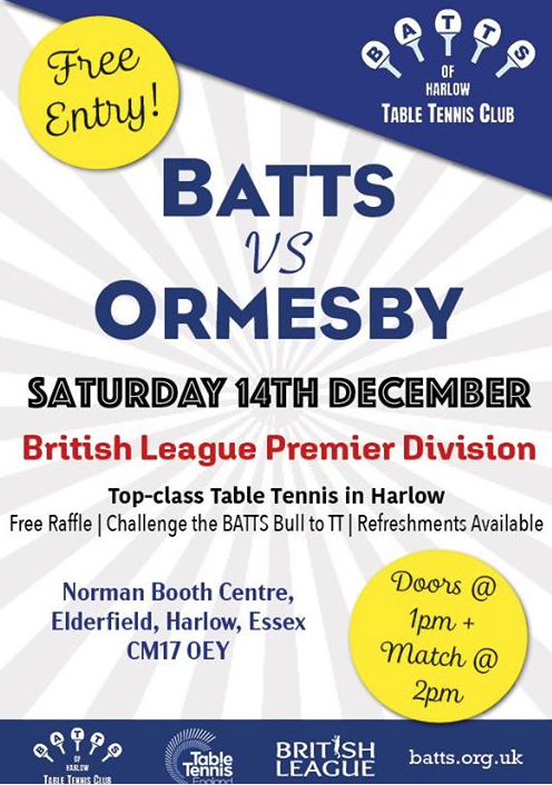 Table Tennis: BATTS to take on mighty Ormesby