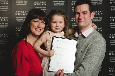 Four-year-old Maddison honoured at Anthony Nolan cancer charity awards ceremony