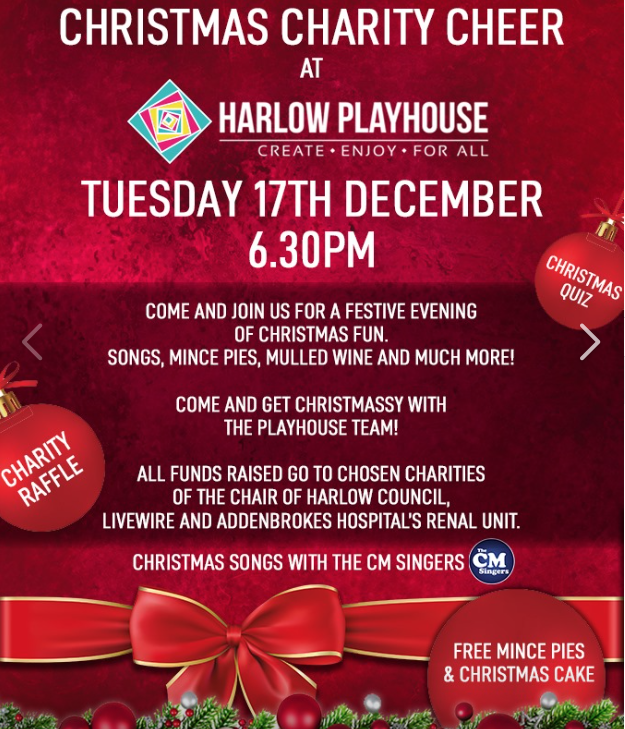 Harlow Playhouse to host Christmas Party Cheer