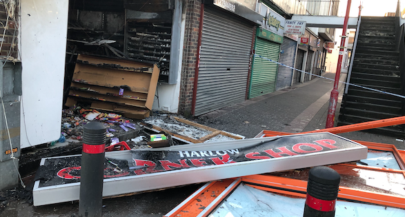 Investigation launched after Harlow Town Centre corner shop completely destroyed by fire