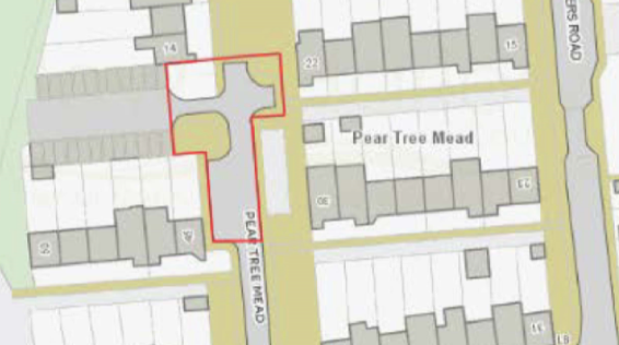 Planning application for car parking spaces in Pear Tree Mead