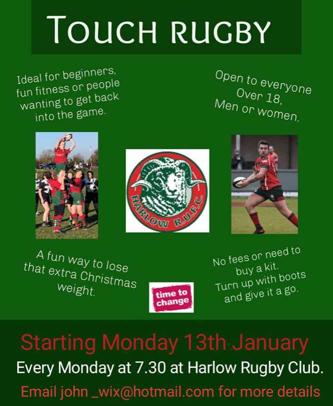 Touch Rugby sessions at Harlow Rugby Club