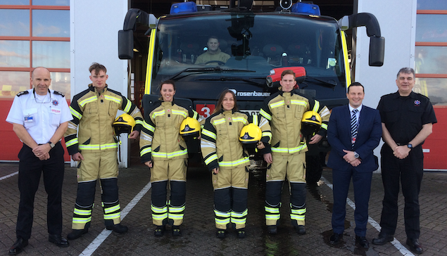 New firefighter apprentices make history at London Stansted