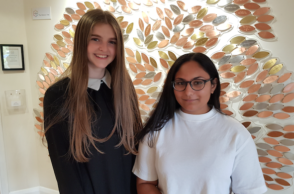 Millie and Saidhriti graduate from St Clare Hospice's Young Ambassadors scheme