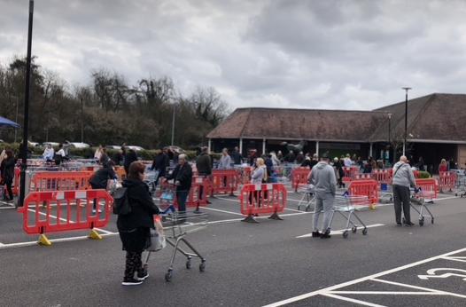 "Tescos in Harlow inform customers of ""one shopper' rule."