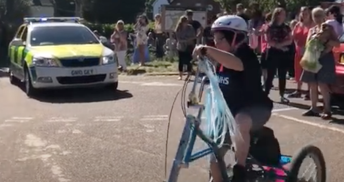 Hayley given heroes welcome as completes her charity bike ride