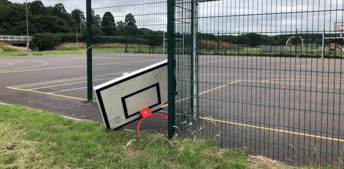 Hoop nightmares as basketball court in Harlow vandalised