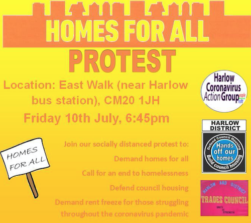 """""""Decent Homes for All"""" Demo in Harlow Town Centre planned for Friday"""