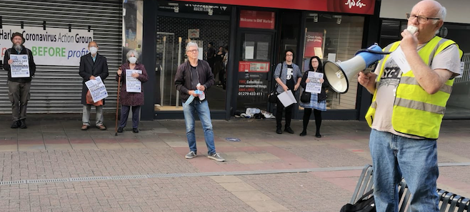 """""""Cancel Covid Rent Arrears"""" demands Trades Union Council Secretary at Action Group rally in Harlow"""