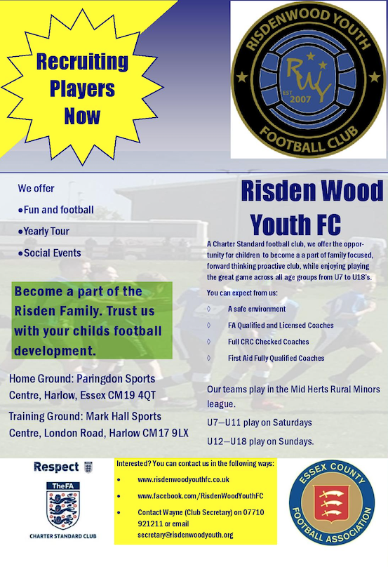 Football: Come and join Risden Wood Youth FC