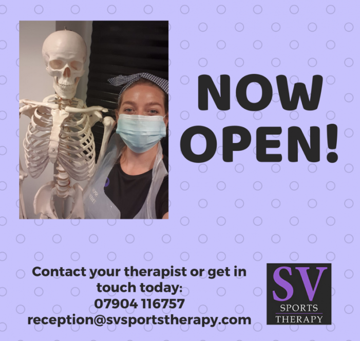 SV Sports Therapy set to re-open