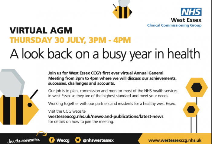 West Essex CCG: Harlow residents invited to virtual Board and AGM