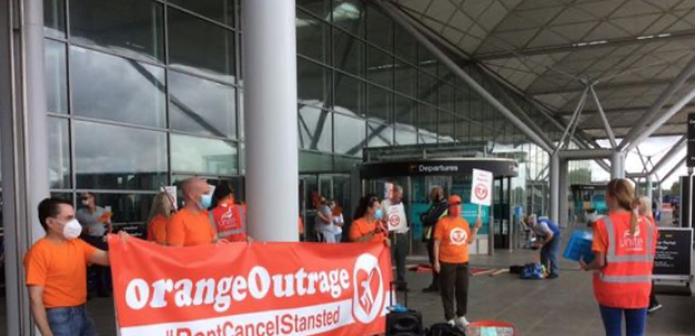 Easyjet staff threatened by job losses at Stansted Airport staged demonstration.
