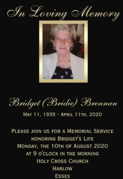 Memorial service for Bridie Brennan