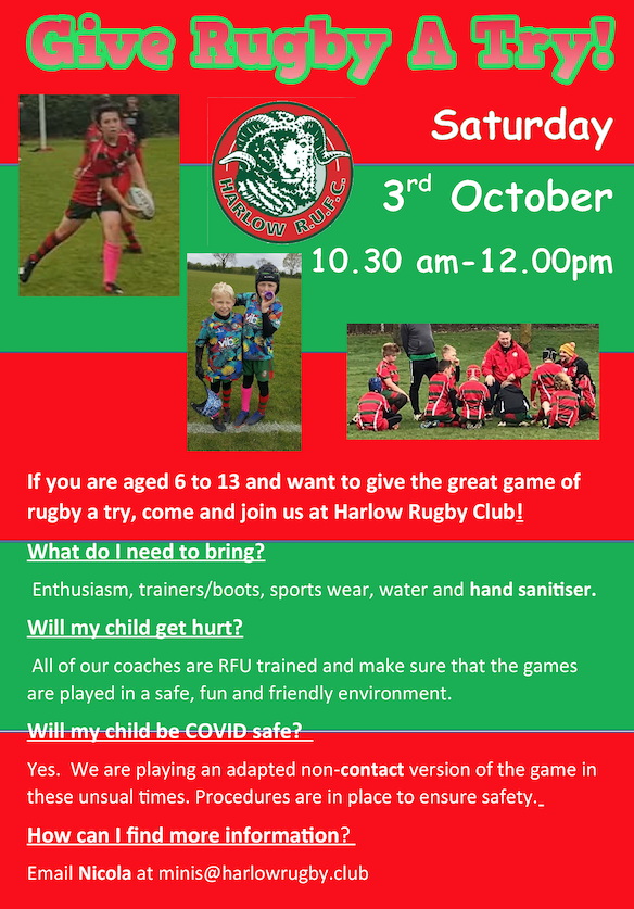 Come to Latton Park and Give Rugby a Try
