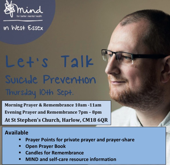 West Essex Mind and St Stephen's Church to partner on World Suicide Prevention Day
