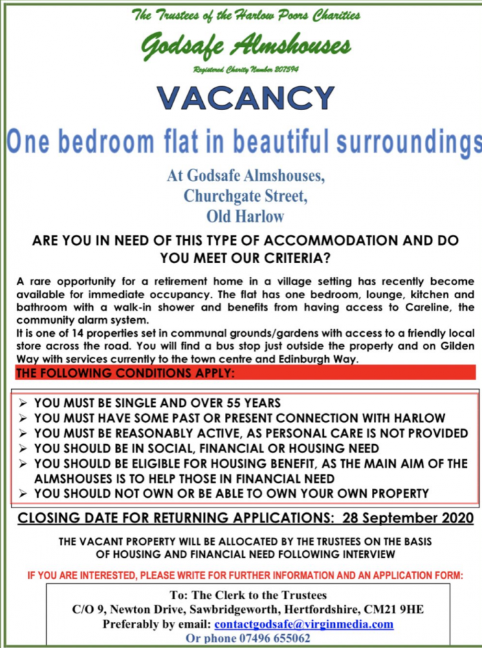 Godsafe Almshouse has vacancy for person in need