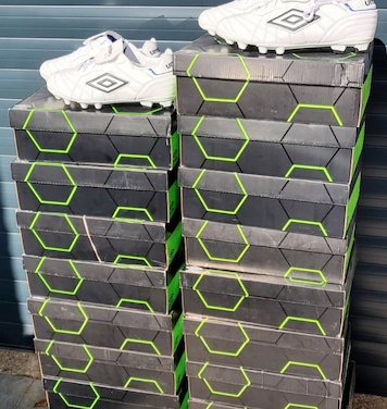 Kind hearted benefactor donates boots to refugee football team