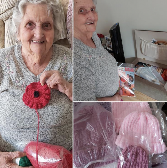 Ashlyns resident Eileen knits poppies for Remembrance Sunday