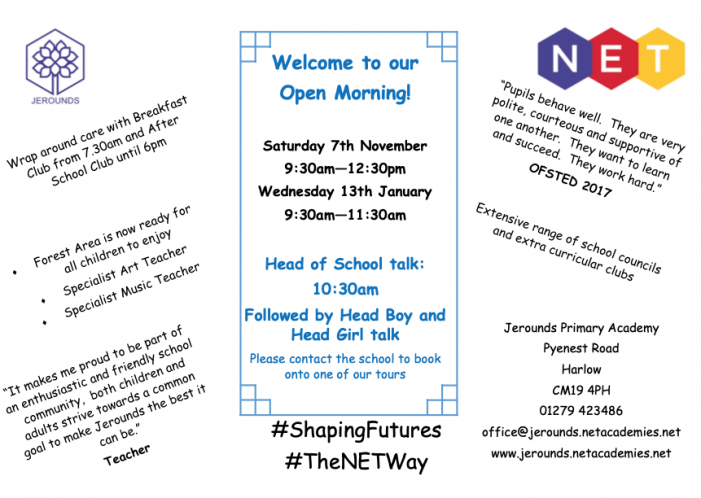 Jerounds Primary Academy to hold virtual Open Day