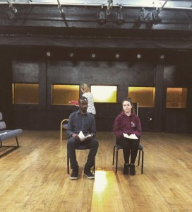 In rehearsal: Tristan (Tyrone Samuels), Dr James (Sarah Randall), and Connie (Abbie Middleton-Evans).